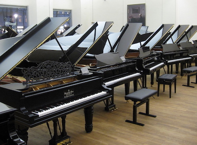 a room full of pianos
