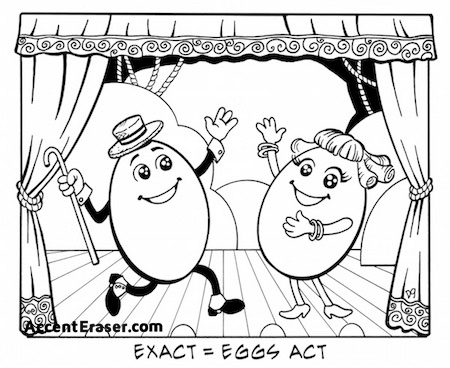 "How to pronounce ""exact"" in American accent: ""eggs act"""